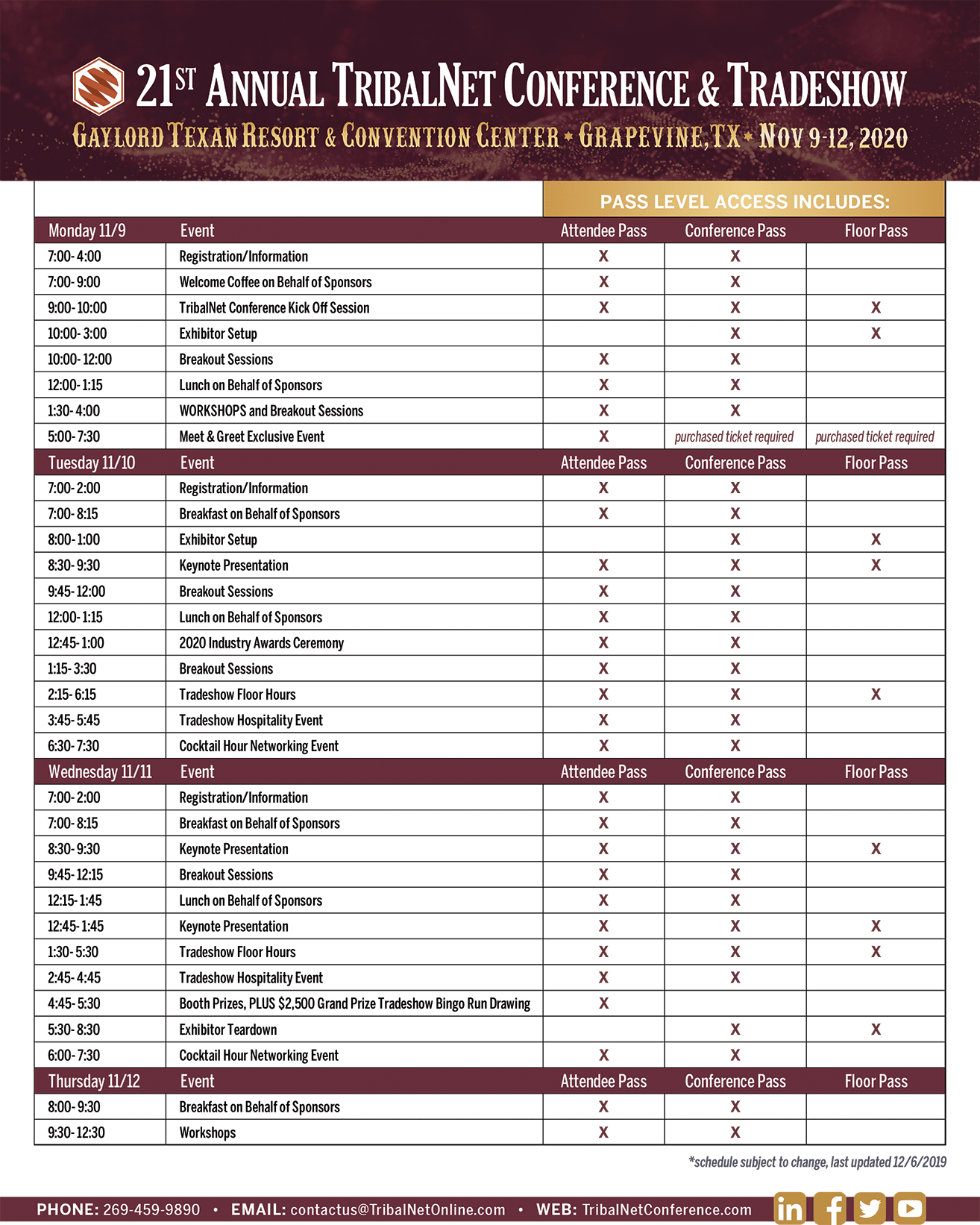 Conference Schedule 2020